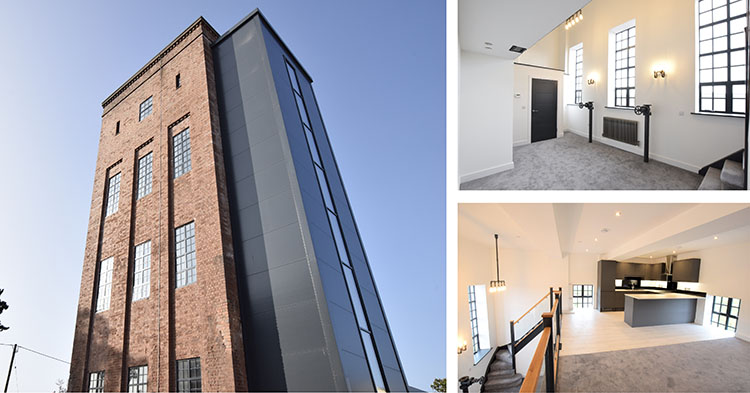 Various images of The Frenchay Water Tower refurbishment, located in North East Bristol.